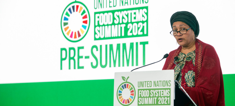 Intervención de la vicesecretaria general de las Naciones Unidas, Amina Mohammed, durante la cumbre preparatia que se celebra en Roma del 26 al 28 de julio.