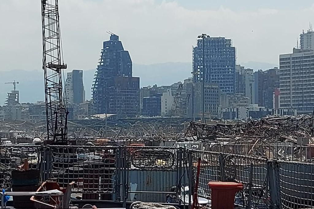 Parte de la destrucción del puerto de Beirut tras la explosión.
