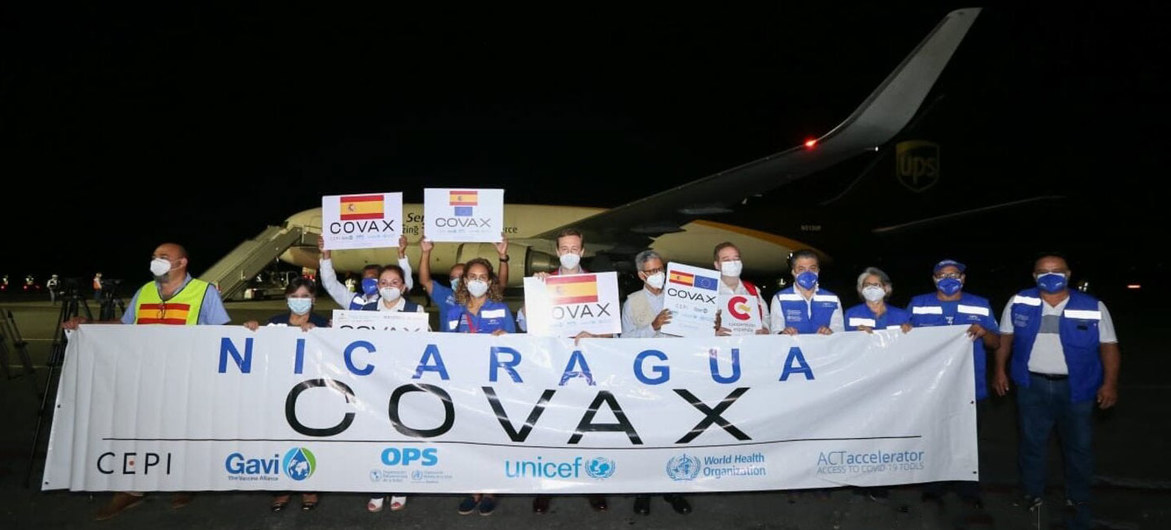 Nicaragua recibió casi 500.000 dosis de vacunas del COVID-19 donadas por España a través del mecanismo COVAX