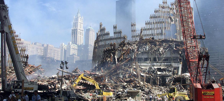 Vista de la destrucción del World Trade Center en Nueva York tras los atentados del 11-S en 2001