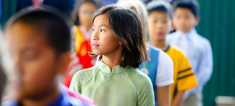 Estudiantes en una escuela de la ciudad de Hanoi, en Vietnam.