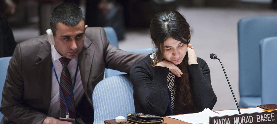 Nadia Murad, la joven yazidí secuestrada y violada por el Estado Islámico, contó su historia al Consejo de Seguridad de la ONU en diciembre de 2015.