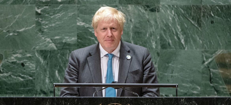 El Primer Ministro del Reino Unido de Gran Bretaña e Irlanda del Norte, Boris Johnson, pronuncia su discurso en el Debate general del 76º período de sesiones de la Asamblea General de las Naciones Unidas.